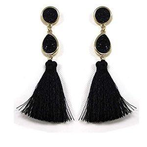 New Black Stone Tassel Drop Earrings